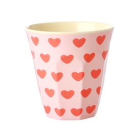 Rice Medium Melamine Cup with Sweet Hearts Print