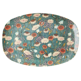 Rice Melamine Rectangular Plate - Fall Flower Print