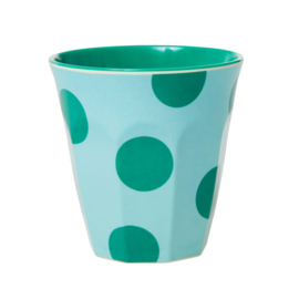 Rice Medium Melamine Cup - Mint with Green Dots Print