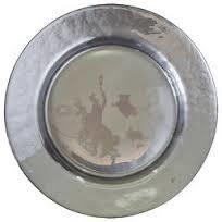 GreenGate Glass Charger Plate Silver Pearl 34 cm -onderbord-