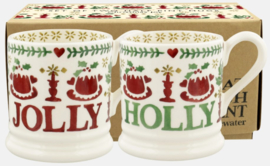 Emma Bridgewater Christmas Joy Set Of 2 1/2 Pint Mugs Boxed - 2021