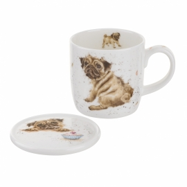 Wrendale Designs Pug Love Mug & Coaster Set
