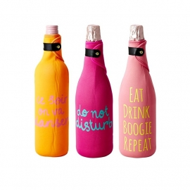 Rice Neoprene Wine Cooler in 3 Assorted Designs