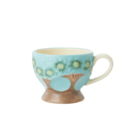 Rice Ceramic Mug with Embossed Turquoise Flower Design