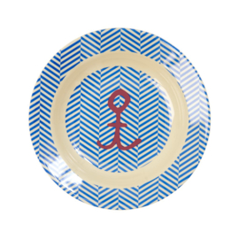 Rice Kids Melamine Bowl with Sailor Stripe and Anchor Print