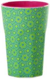 Rice Melamine Two Tone Tall Cup with Green and Turquoise Marrakesh Print