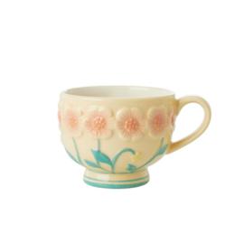 Rice Ceramic Mug with Embossed Creme Flower Design