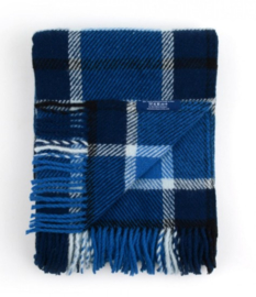 Bunzlau Plaid Checkered Dark Blue 100% Lambswool 130 x 170 cm