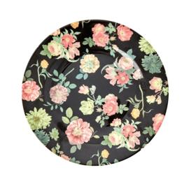 Rice Melamine Side Plate with Dark Rose Print -bord met rand-