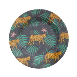 Rice Melamine Side Plate with Leopard and Leaves Print (bord met rand)