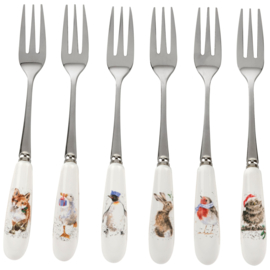 Wrendale Designs Set of Six Pastry Forks Xmas