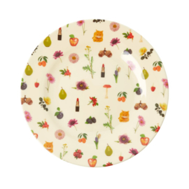 Rice Melamine Side Plate with Lipstick Fall Print -bord met rand-