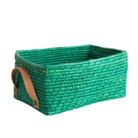 Rice Raffia Rectangular Basket with Leather Handles - Green