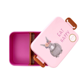 Rice Lunchbox with Divider - Farm Animals Print - Pink