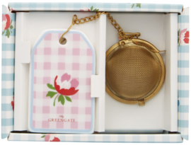 GreenGate Tea infuser Viola check pale pink with chain