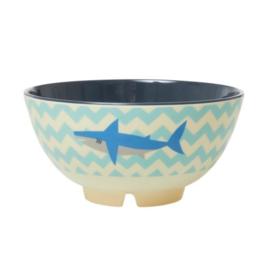 Rice Medium Melamine Bowl - Shark Print