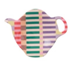 Rice Melamine Tea Bag Plate in Summer Stripes Print 'Let's Summer'