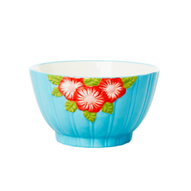 Rice Ceramic Bowl with Embossed Flower Design - Mint