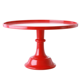 Rice Melamine Cake Stand with Stem in Berry Red color