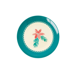 Rice Melamine Dessert Plate with Xmas Poinsettia Print