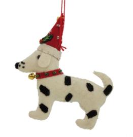 Meander Hond zwart/wit met kerstmuts -vilt-