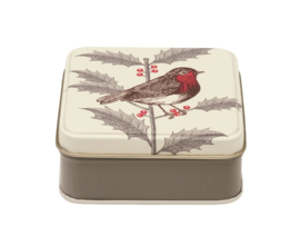 Thornback & Peel Robin & Holly Small Square Tin