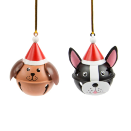 Sass & Belle Christmas Decoration Dogs in Christmas Hats Bells -Set of 2-