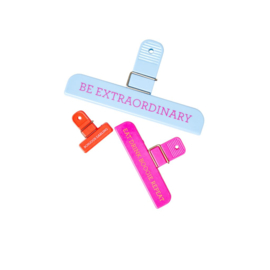 Rice Jumbo Clips Assorted Words & Colours - Sets of 6