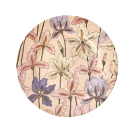 Rice Melamine Side Plate with Iris Print -bord met rand-
