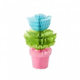 Rice Honeycomb Flowerpot in Blue Flower