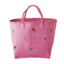 Rice Raffia Bag in Pink with Flowers Embroidy - Large