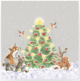 Wrendale Designs Lunch Napkins 'Oh Christmas Tree'