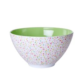 Rice Melamine Salad Bowl with Spring Flower Print - White