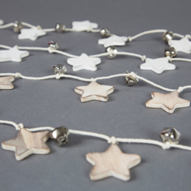 Sass & Belle Christmas Decoration White Star & Silver Bell Garland -slinger-