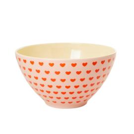 Rice Melamine Salad Bowl with Sweetheart Print