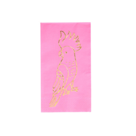 Rice 20 Paper Lunch Napkins with Gold Cockatoo Pink