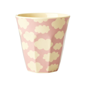 Rice Medium Melamine Cup Two Tone with Cloud Print - Pink