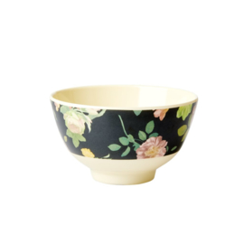 Rice Small Melamine Bowl - Two Tone - Dark Rose Print