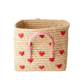 Rice Raffia Square Basket with Hand Embroidered Hearts - Natural