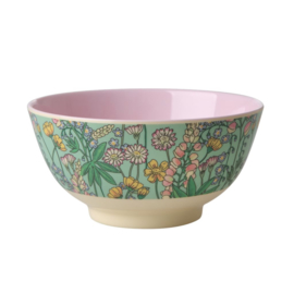 Rice Melamine Bowl with Lupin Print - Two Tone - Medium