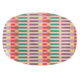 Rice Melamine Rectangular Plate - Summer Stripes Print