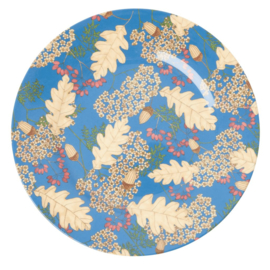 Rice Melamine Dinner Plate with Autumn and Acorns Print -bord met rand-