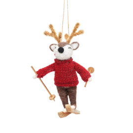 Sass & Belle Deer on Skis Felt Decoration