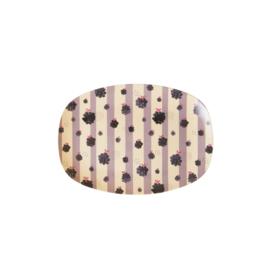 Rice Small Melamine Rectangular Plate - Blackberry Beauty Print