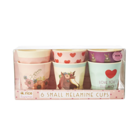 Rice Melamine Small Kids Cups - Assorted Farm Animals Prints - Pink - 6 pcs