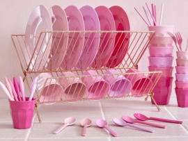 Rice Medium Melamine Cup - Assorted 50 Shades of Pink Colors - 6 pcs.