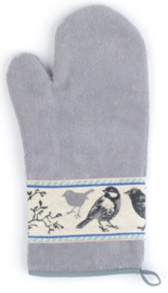 Bunzlau Oven Glove Birds Grey