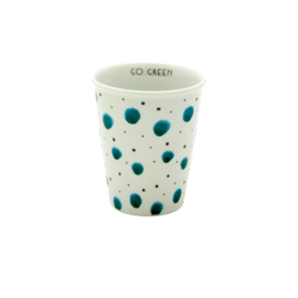 Rice Porcelain Cup with Watercolor Splash Print - 'GO GREEN' Detail Inside -