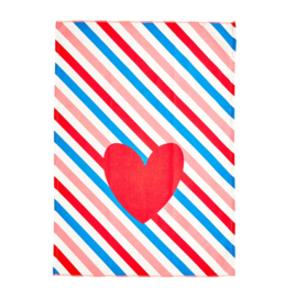 Rice Tea Towel - Candy Stripes Print - Neon Piping