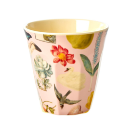 Rice Medium Melamine Cup with Pink Art Print